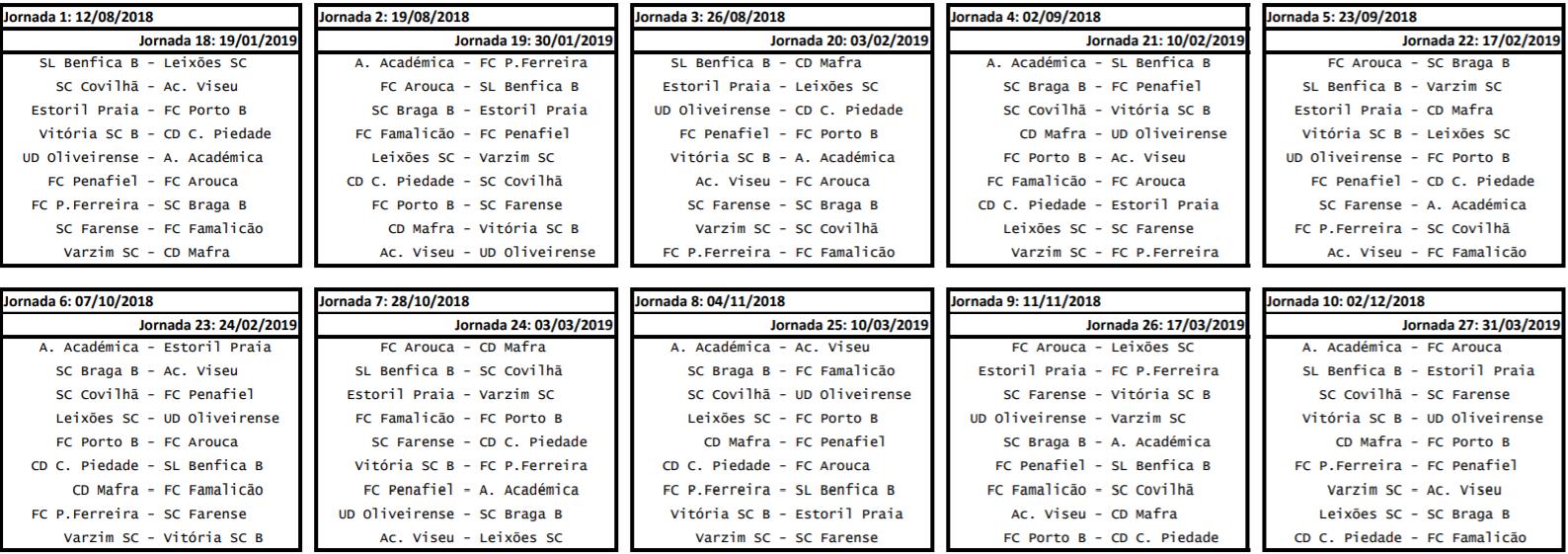 Calendario Liga Segunda.Bancada O Calendario Completo Da Segunda Liga Portuguesa