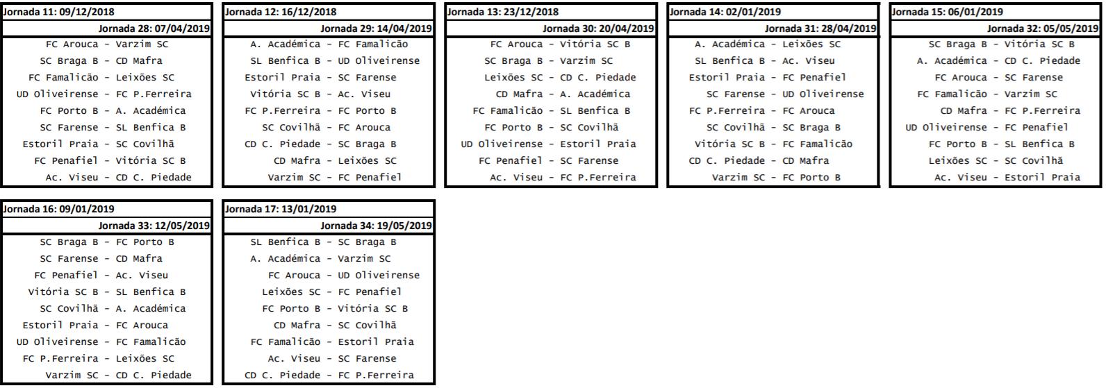 Calendario Primeira Liga.Bancada O Calendario Completo Da Segunda Liga Portuguesa